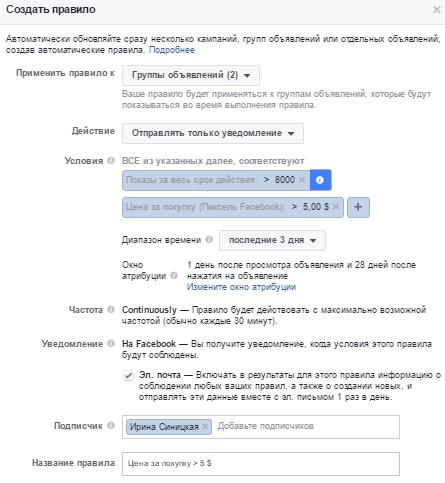 Автоматические правила Facebook – контроль цены за конверсию