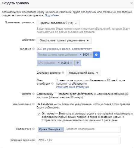 Автоматические правила Facebook – контроль автоматических ставок