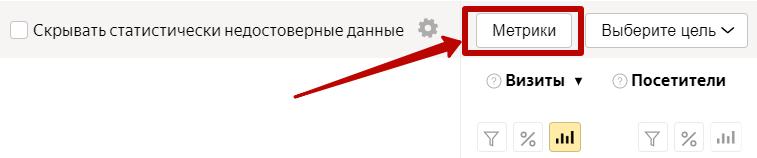 Анализ трафика в Яндекс.Метрике – кнопка добавления метрик