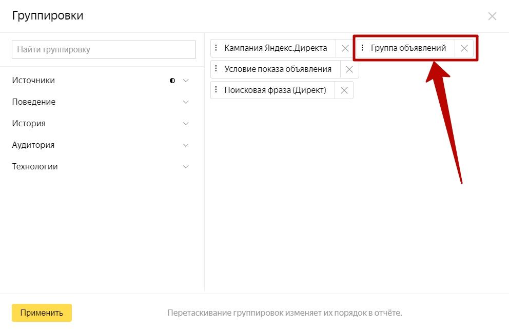 Анализ трафика в Яндекс.Метрике – группировка по группе объявлений