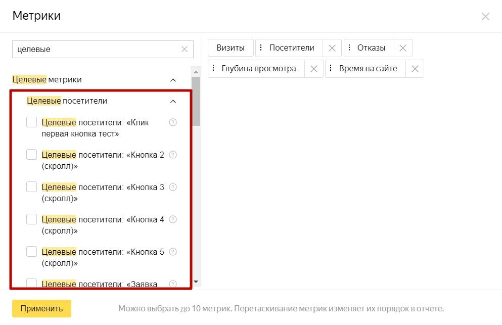 Анализ трафика в Яндекс.Метрике – метрики по целевым посетителям