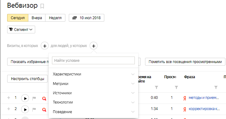 Вебвизор — сегментация по посетителям