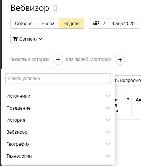 Вебвизор – сегментация по визитам