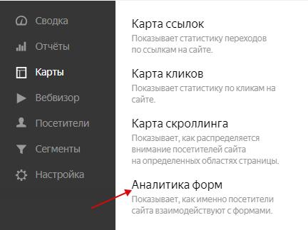 Вебвизор — ссылка на аналитику форм