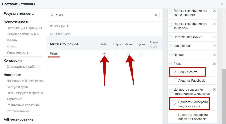 Метрики Facebook – метрики по лидам