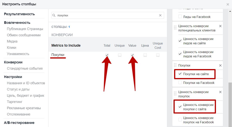 Метрики Facebook – метрики по покупкам
