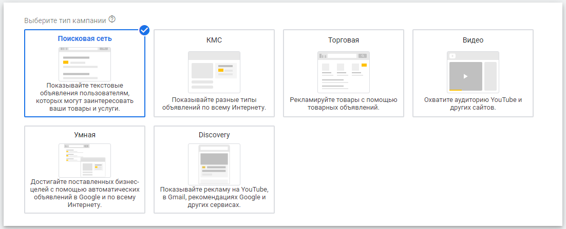 Автоматические стратегии в Google Ads – тип кампании