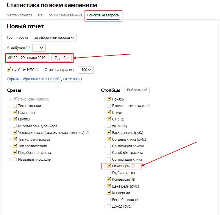 Список минус-слов – отчет по поисковым запросам в Яндексе
