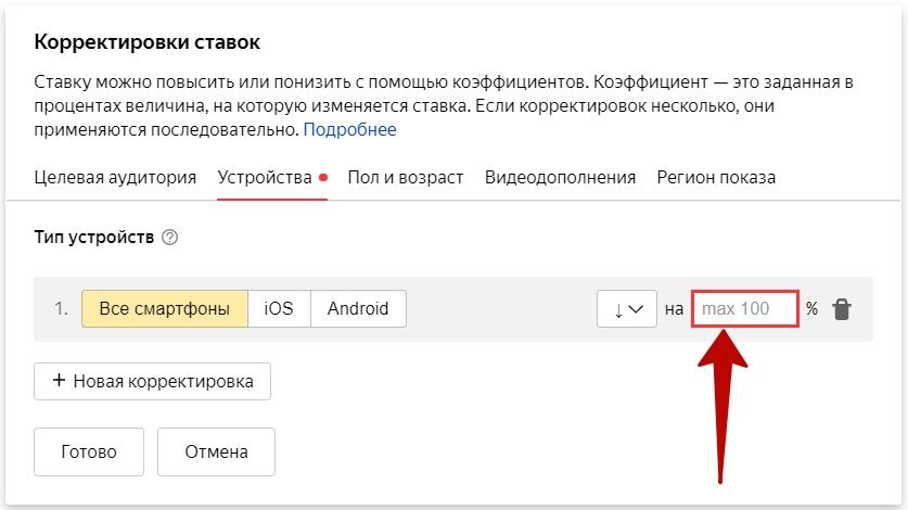 Аудит сайта – отключение показов на мобильных в Директе