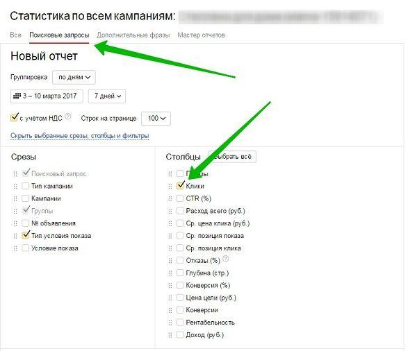 Аудит сайта – отчет по поисковым запросам в Директе