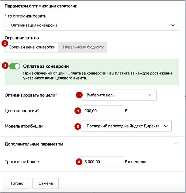 Оплата за конверсии Яндекс.Директ – настройка в интерфейсе Яндекс.Директ