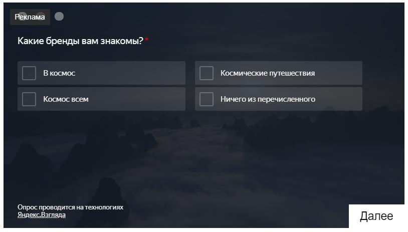 Яндекс Взгляд – пример, как выглядит опрос
