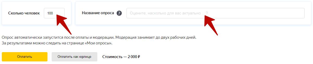 Яндекс Взгляд – размер выборки и название опроса
