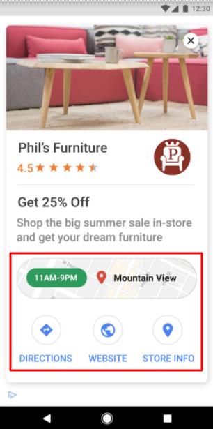 Локальная реклама в Google Ads – пример объявления в КМС