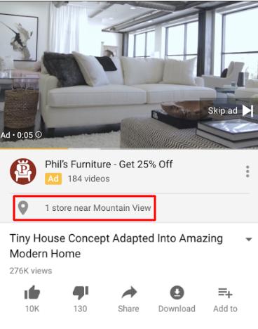 Локальная реклама в Google Ads – пример объявления в YouTube