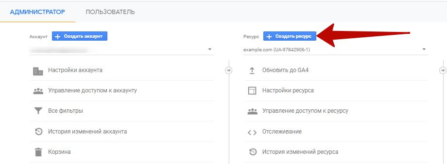Google Analytics 4 – кнопка создания ресурсов