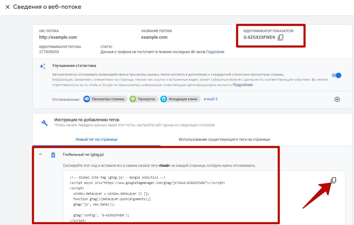 Google Analytics 4 – идентификатор показателя и глобальный тег