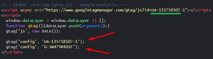 Google Analytics 4 – разные теги в коде сайта