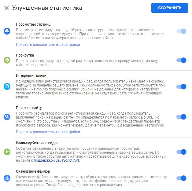 Google Analytics 4 – параметры улучшенной статистики