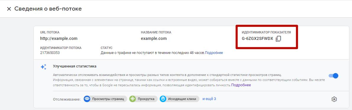 Google Analytics 4 – идентификатор показателя