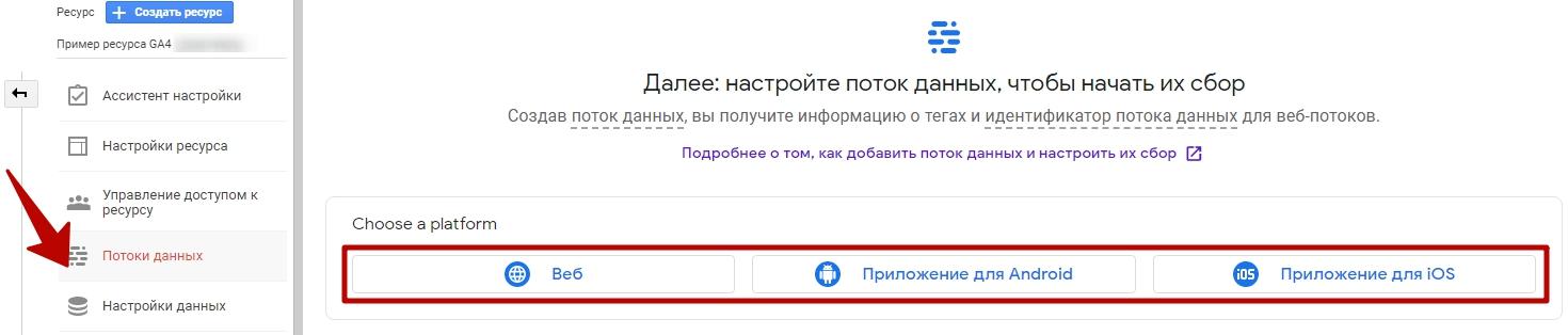 Google Analytics 4 – типы потоков данных