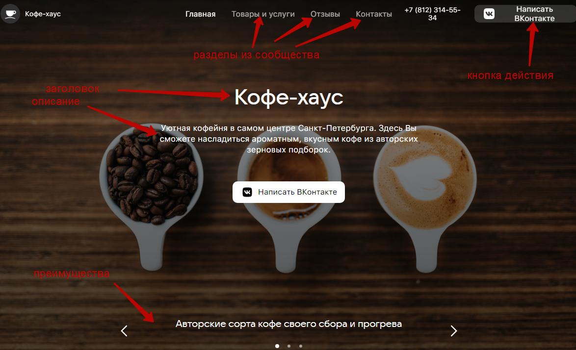 Сайт из сообщества ВКонтакте – пример сайта