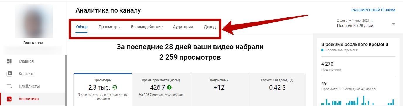 YouTube Аналитика – стандартный режим