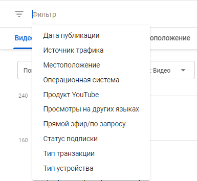YouTube Аналитика – фильтры