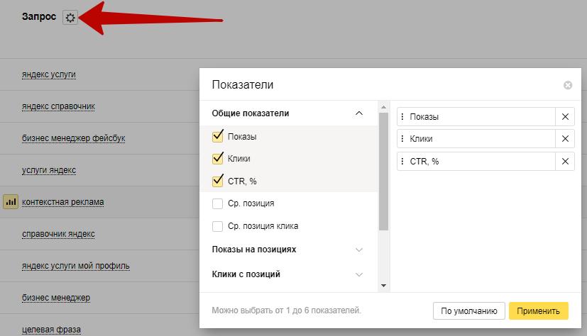 Яндекс Вебмастер – добавление метрик в отчет