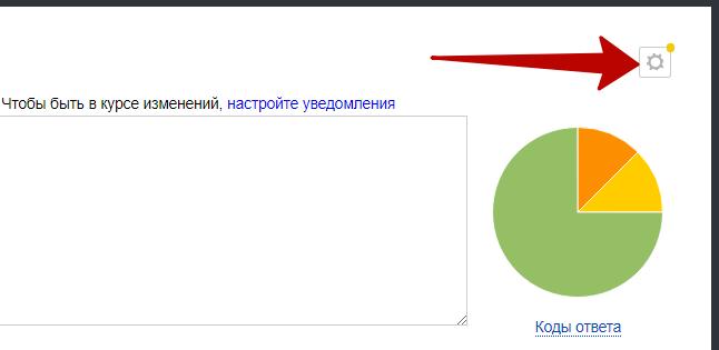 Яндекс Вебмастер – кнопка настройки уведомлений