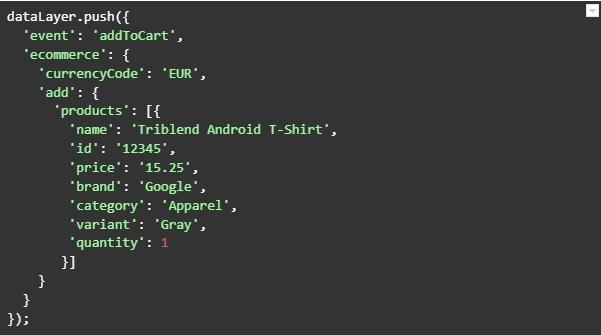 Код из справки Google Analytics для добавления товара в корзину