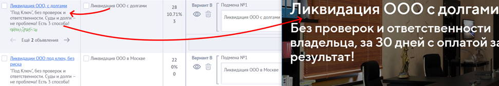 Яндекс.Директ для юристов – пример связки1