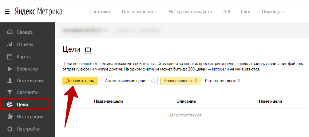 Яндекс.Метрика новые цели – кнопка добавления цели