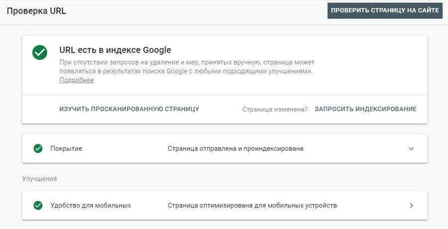 Google Search Console – успешная проверка URL