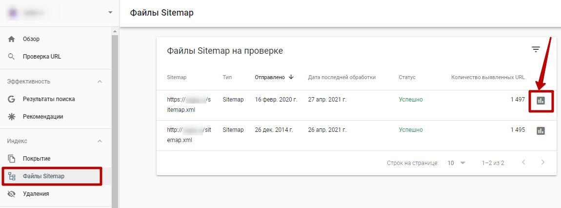 Google Search Console – файлы Sitemap