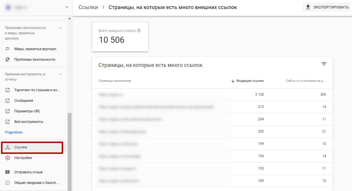 Google Search Console – отчет по самым популярным внешним ссылкам