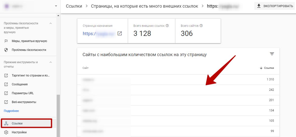 Google Search Console – страницы, на которые ведет много внешних ссылок