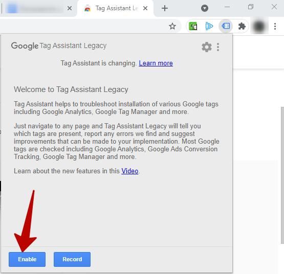 Расширения для браузеров – включение Tag Assistant