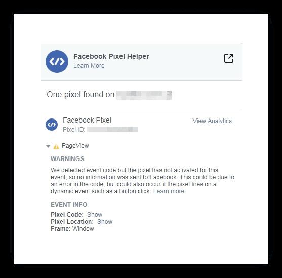 Расширения для браузеров – Facebook Pixel Helper, обнаруженные ошибки