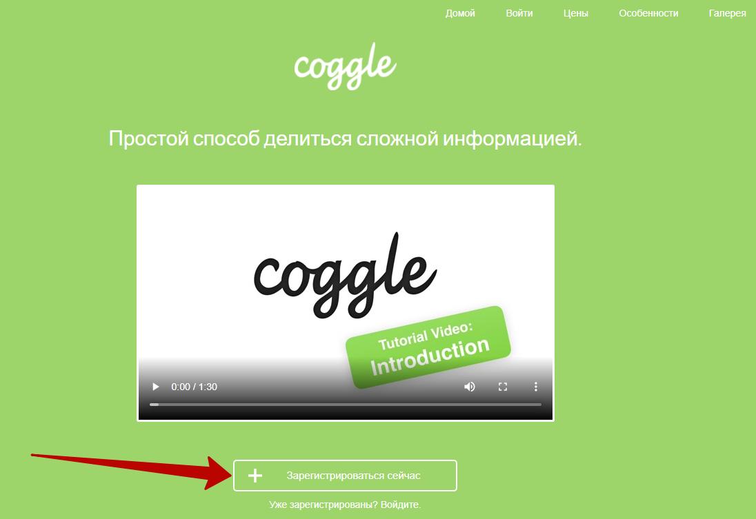 Интеллект-карты – регистрация в Coggle