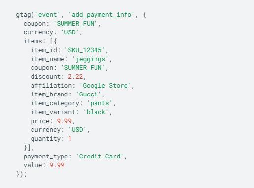События в Google Analytics 4 – тег события add_payment_info