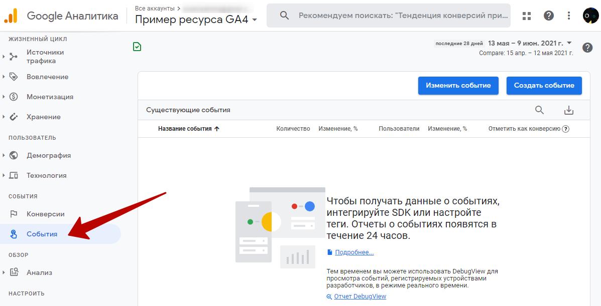 События в Google Analytics 4 – отчет «Все события»