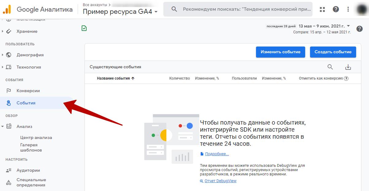 События в Google Analytics 4 – отчет «Центр анализа»