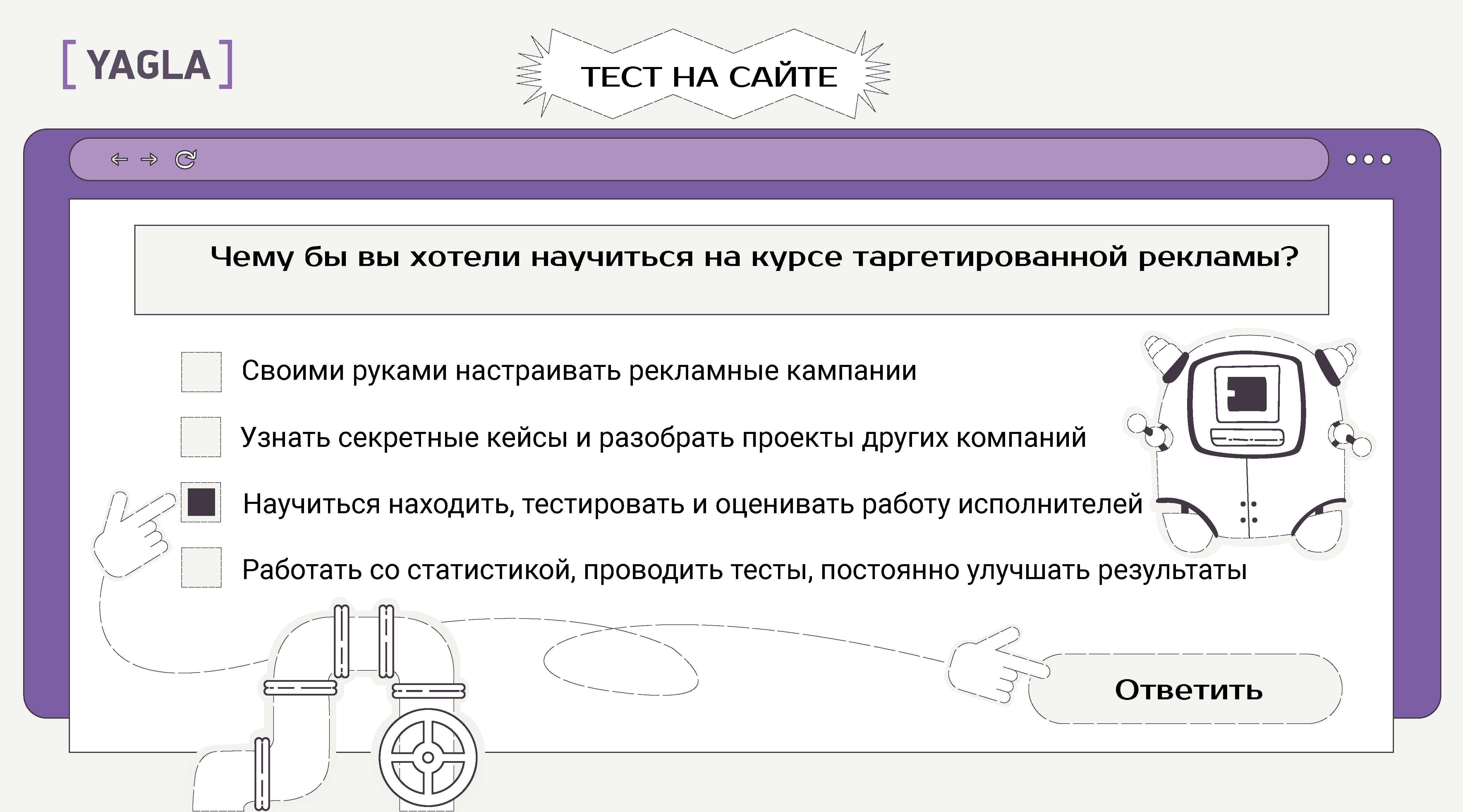 Вариант теста на сайте