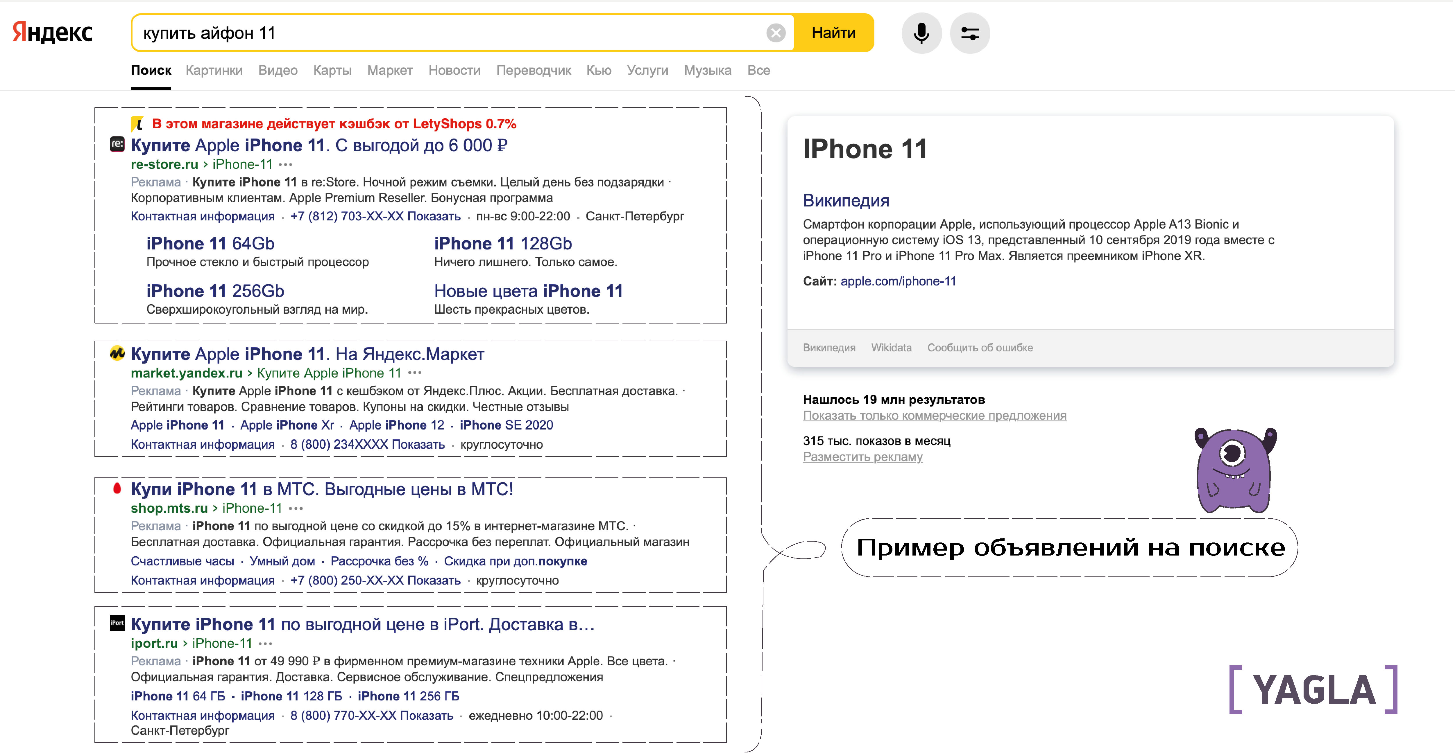 Объявления на поиске Яндекс.Директ пример