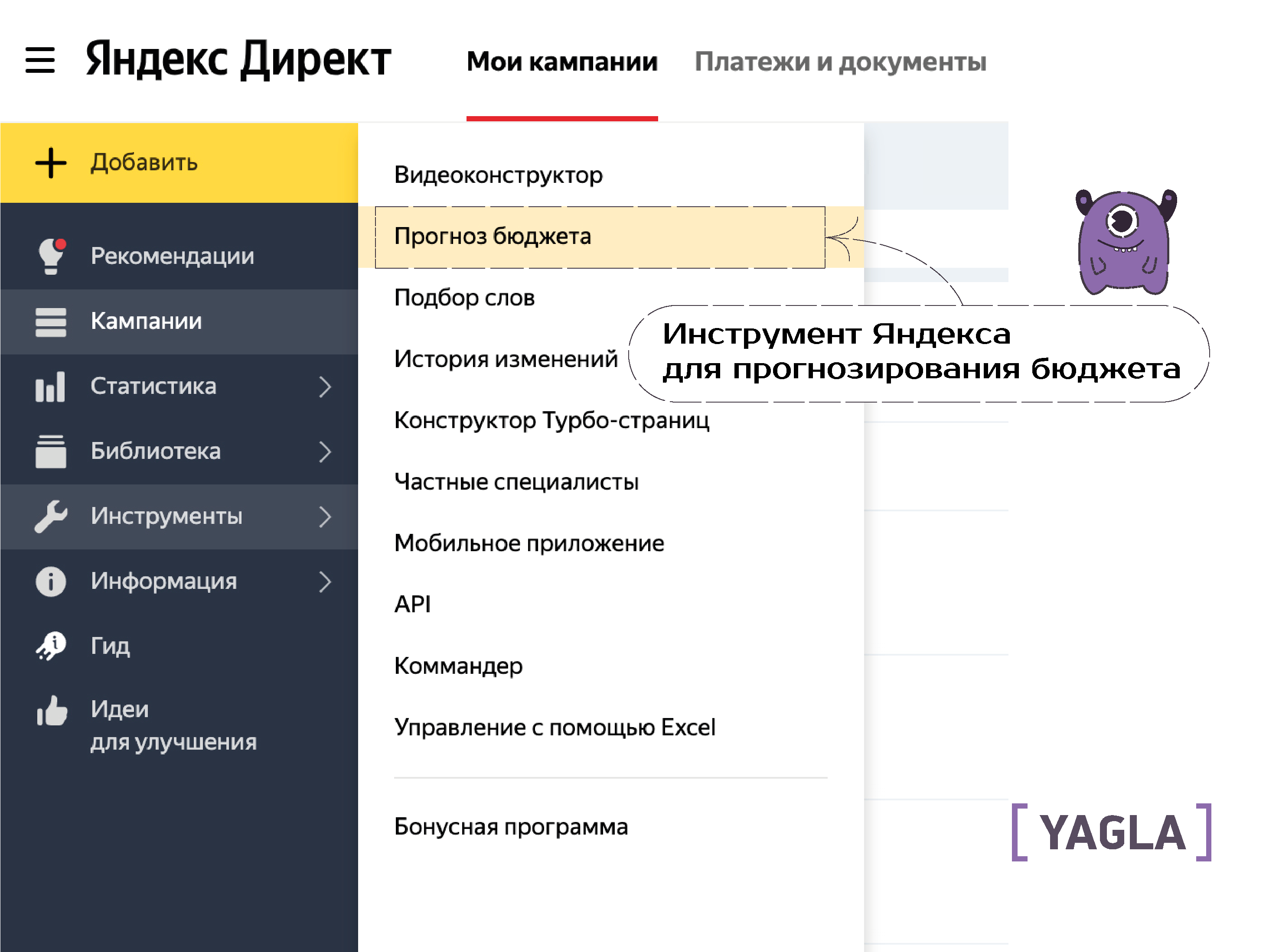 прогноз бюджета Яндекс.Директ