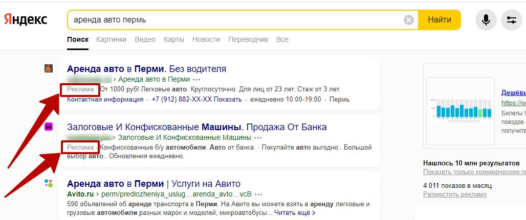 Коммерческая выдача Яндекса