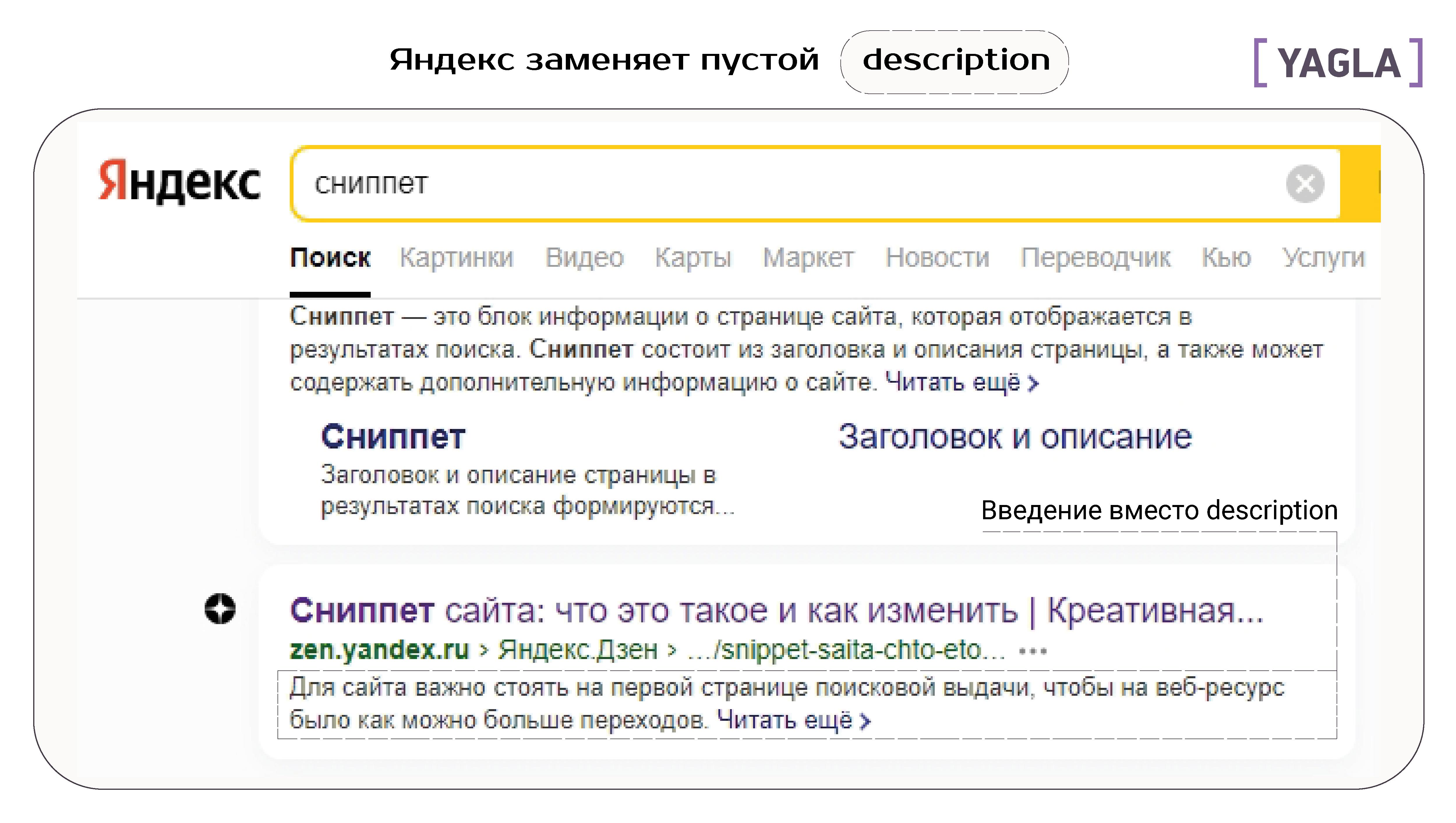 Яндекс заменяет пустой дескрипшен
