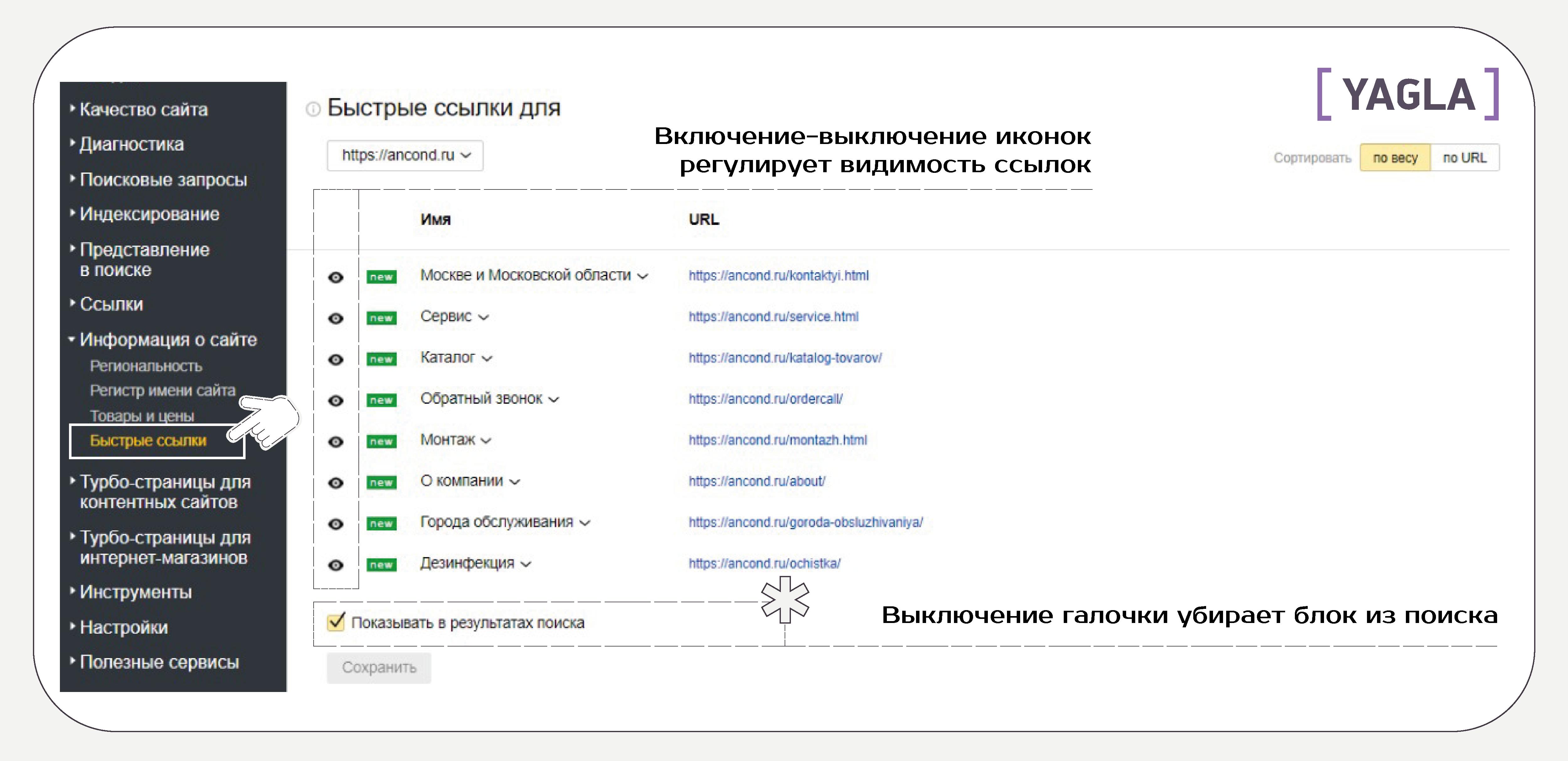 Настройка отображения быстрых ссылок в Яндексе