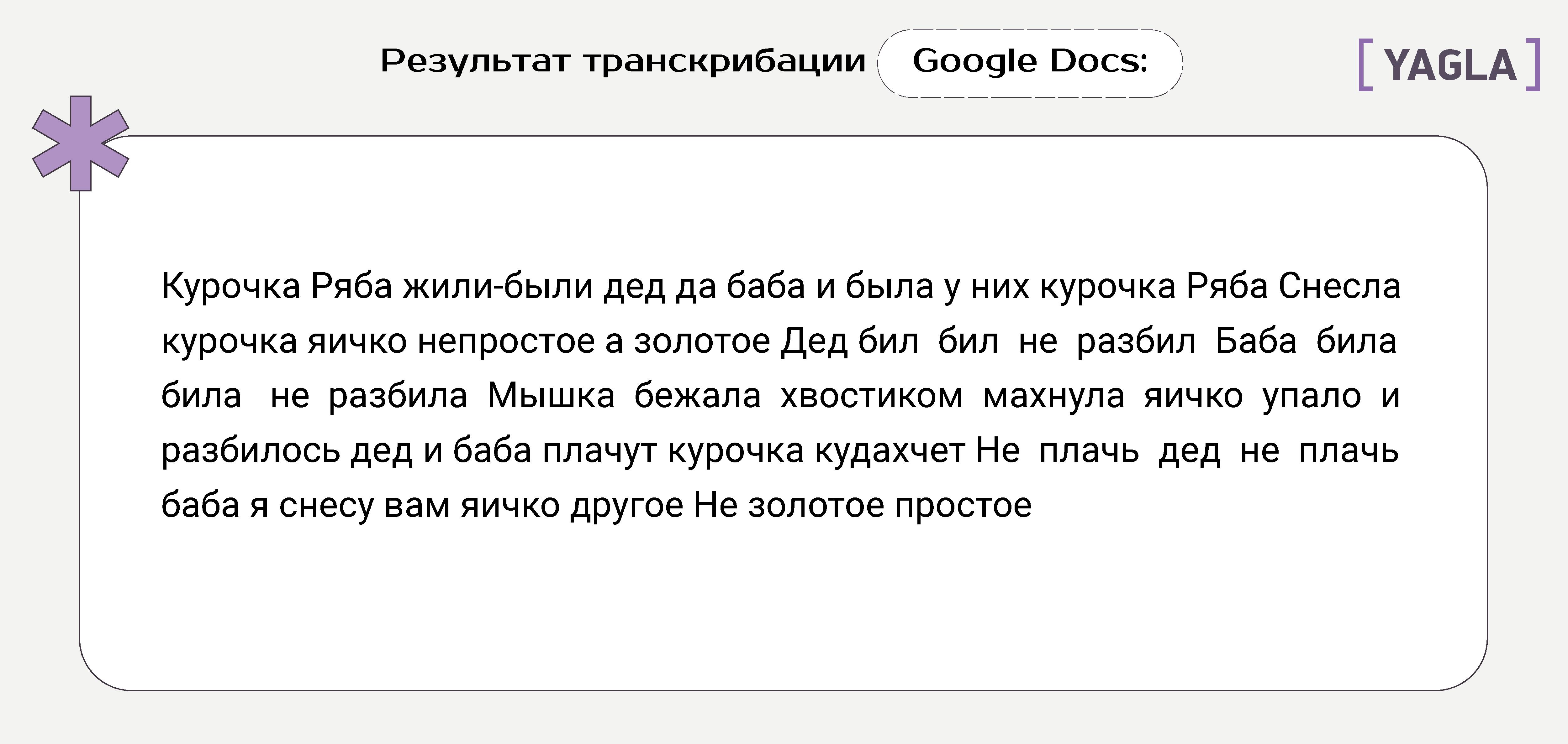 Результат расшифровки в Google Docs